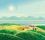 Landscape with hut. Stylized landscape with a house on the waterfront Royalty Free Stock Image