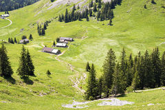 Landscape with huts Jaegerkamp Bavaria Alps Royalty Free Stock Photography
