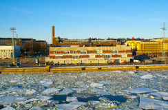 Helsinki port during the ice drift Royalty Free Stock Photography