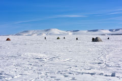 Landscape on the ice reservoir Stock Photography