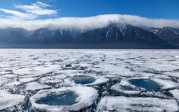 Landscape with ice and water circles Stock Image