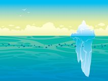 Landscape with iceberg, sea and sky. Nature vector landscape - blue sea with school of fishes and big iceberg on a sky Stock Image