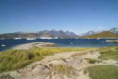 Landscape, Icebergs in Greenland. Landscape with icebergs, sea and mountains stock photo