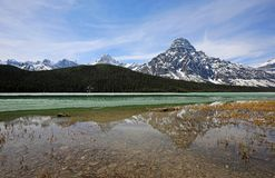 Mount Chephren reflection. Landscape from Icefield Parkway - Alberta, Canada stock photo