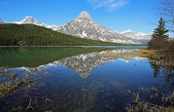 Mount Chephren reflected in Waterfowl Lake. Landscape from Icefield Parkway - Alberta, Canada stock photo