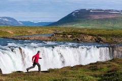 Landscape of Iceland with Godafoss waterfall Stock Image