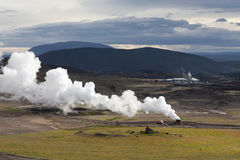 Landscape in Iceland with a plume of smoke, Krafla geothermal po Royalty Free Stock Images
