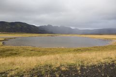 Landscape in Iceland with a pond in the foreground Royalty Free Stock Photography