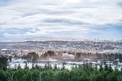 Landscape of Iceland in winter season. Beautiful view of Reykjavik, the capital city of Iceland Stock Photos