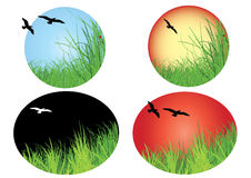 Landscape icon with birds Stock Images