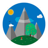 Landscape. Icon with mountain in flat design Royalty Free Stock Photography