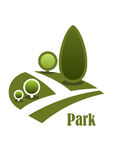 Landscape icon with walkway, lawns and trees. Summer park landscape icon with secluded walkway among green lawns with trees and bushes isolated on white Stock Images