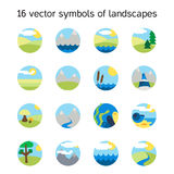 Landscape icons collection. Nature symbols Royalty Free Stock Photos