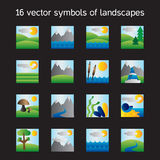 Landscape icons collection. Nature symbols Stock Photography