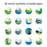Landscape icons collection. Nature symbols Stock Photo