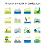 Landscape icons collection. Nature symbols Stock Photos