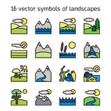 Landscape icons collection. Nature symbols Stock Image