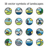Landscape icons collection. Nature symbols Royalty Free Stock Images