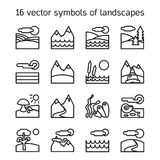 Landscape icons collection. Nature symdols Royalty Free Stock Photography
