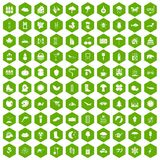 100 landscape icons hexagon green. 100 landscape icons set in green hexagon isolated vector illustration Stock Image