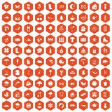 100 landscape icons hexagon orange Stock Photography