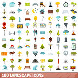 100 landscape icons set, flat style. 100 landscape icons set in flat style for any design vector illustration royalty free illustration