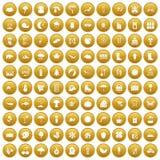 100 landscape icons set gold. 100 landscape icons set in gold circle isolated on white vectr illustration Stock Image