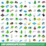 100 landscape icons set, isometric 3d style. 100 landscape icons set in isometric 3d style for any design vector illustration Royalty Free Stock Photos
