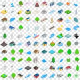 100 landscape icons set, isometric 3d style. 100 landscape icons set in isometric 3d style for any design vector illustration royalty free illustration