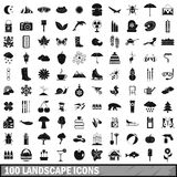 100 landscape icons set, simple style. 100 landscape icons set in simple style for any design vector illustration Stock Images