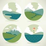 Landscape icons Stock Images