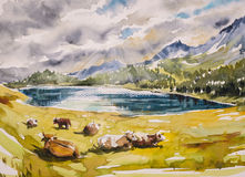 Landscape. Idyllic alpine landscape: brown cows grazing on a meadow close to the mountains and a lake.Watercolors illustration Stock Photo