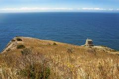 The bay of Ieranto in Sorrento`s peninsula. Landscape of Ieranto bay in Sorrento, from Punta Campanella, Naples, Italy stock photo