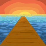 Landscape illustration. Vector illustration of a lake and sunset Royalty Free Stock Photos