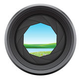 Landscape. Illustrations and  -camera lens Royalty Free Stock Image