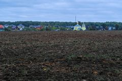 Image of an arable land. Landscape with the image of an arable land stock photo