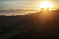 Landscape image of beautiful fairytale castle ruins during beaut royalty free stock photos