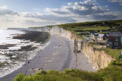 Landscape image of Birling Gap from Seven Sisters in East Sussex stock photography