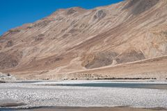 Landscape image of the blue Shyok river on the way to Nubra valley Stock Images