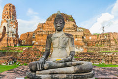 Landscape image of buddha in old temple at ayutthaya thailand Royalty Free Stock Photos