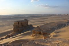 From the hights of the Faiyum desert. Landscape image of the Faiyum Desert from High ground. This image was taken shortly before sunset stock image