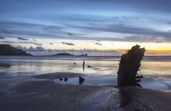 Helvetia wreck on Rhossili beach at sunset Stock Photography