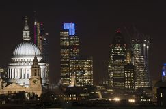 Beautiful landscape image of the London skyline at night looking Stock Photography