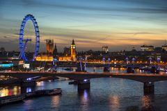 Beautiful landscape image of the London skyline at night looking stock images