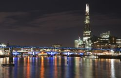 Beautiful landscape image of the London skyline at night looking Stock Image