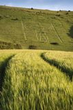 Landscape image of Long Man of Wilmington ancient chalk carving Royalty Free Stock Images