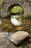 Landscape image of medieval bridge in river setting in English c Stock Image