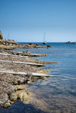 Landscape image of old Mediteranean fishing village in Ibiza Royalty Free Stock Photos