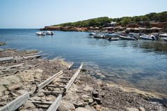 Landscape image of old Mediteranean fishing village in Ibiza Stock Photography