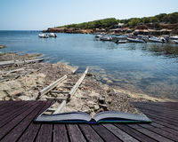 Landscape image of old Mediteranean fishing village in Ibiza con Stock Image